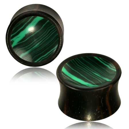Organic Arang Wood Malachite Inlay Two-Tone Double Flared Saddle Ear Plugs, Pair