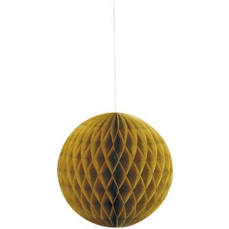 Honeycomb Tissue Balls (Tissue Paper Honeycomb Ball, 8 in, Gold,)