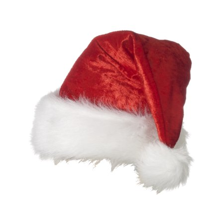 Adults Deluxe Velour Fur Trimmed Santa Claus Christmas Holiday Hat