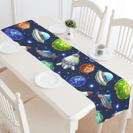 MYPOP Comic Space Table Runner Home Decor 16x72 Inch, Planets Spaceships Rocket Cat Table Cloth Runner for Wedding Party Banquet Decoration