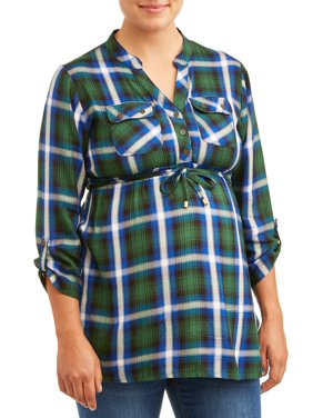Maternity 3/4 Plaid Tie Front Top