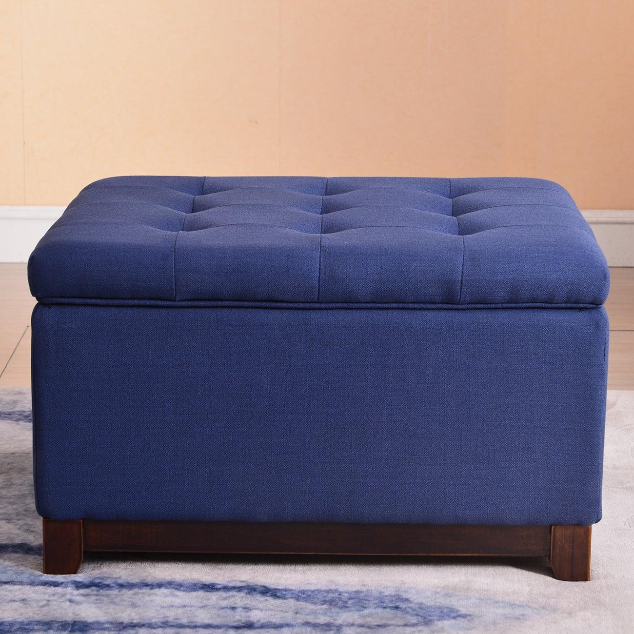 Belleze Linen Ottoman Storage Bench Stool Large Footrest