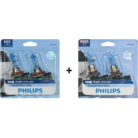 Philips CrystalVision Ultra Low Beam & High Beam Headlight Bulbs Bundle