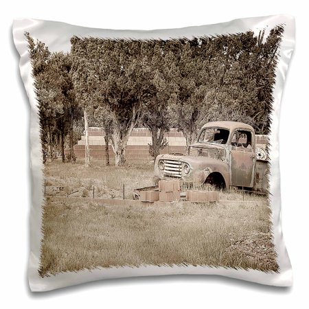 3dRose An Old Truck Parked on the Grass Along The Road Near Cedar City, Utah on the Old Highway 18 - Pillow Case, 16 by 16-inch - Party City Near By