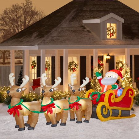 20 39 long airblown christmas inflatable santa in sleigh with three reindeers. Black Bedroom Furniture Sets. Home Design Ideas