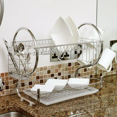 Home Basics Chrome 2 Tier Kitchen Sink Dish Drainer Drying Rack ...