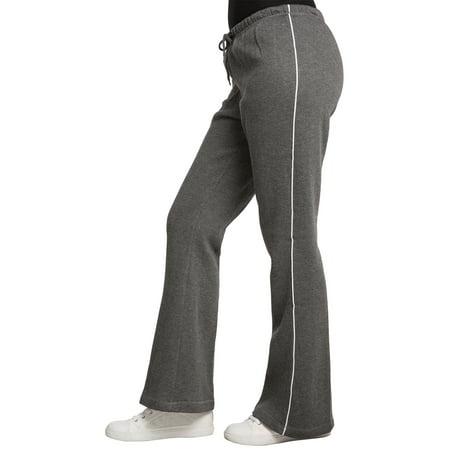 Sweet Vibes Womens Charcoal Fleece Contrast Piping Flare Bottom Sweatpants Drawstring Waist