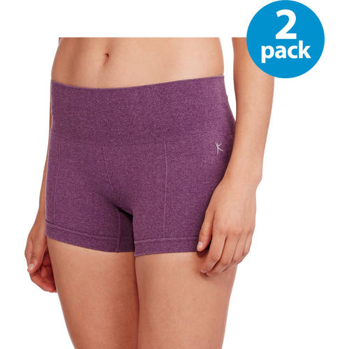 Danskin Now Women's Seamless Performance Workout Shorts, 2 Pack