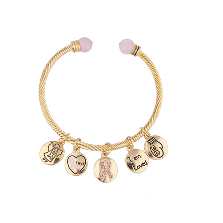 Lux Accessories Breast Cancer Awareness Charm Bangle Bracelet](Breast Cancer Awareness Bracelets)