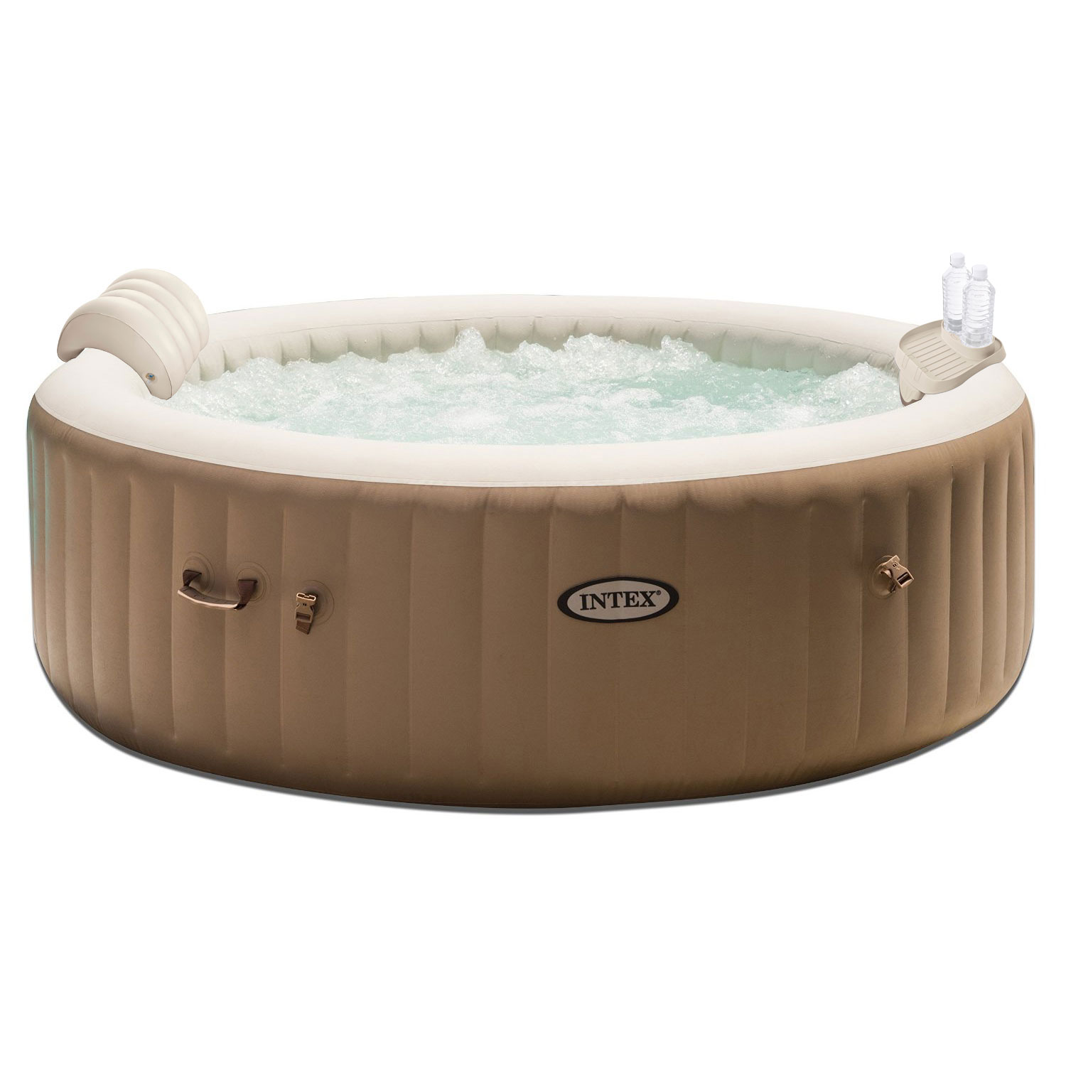 Intex PureSpa 4 Person Inflatable Jet Spa Hot Tub with Drink Tray & Headrest by Intex