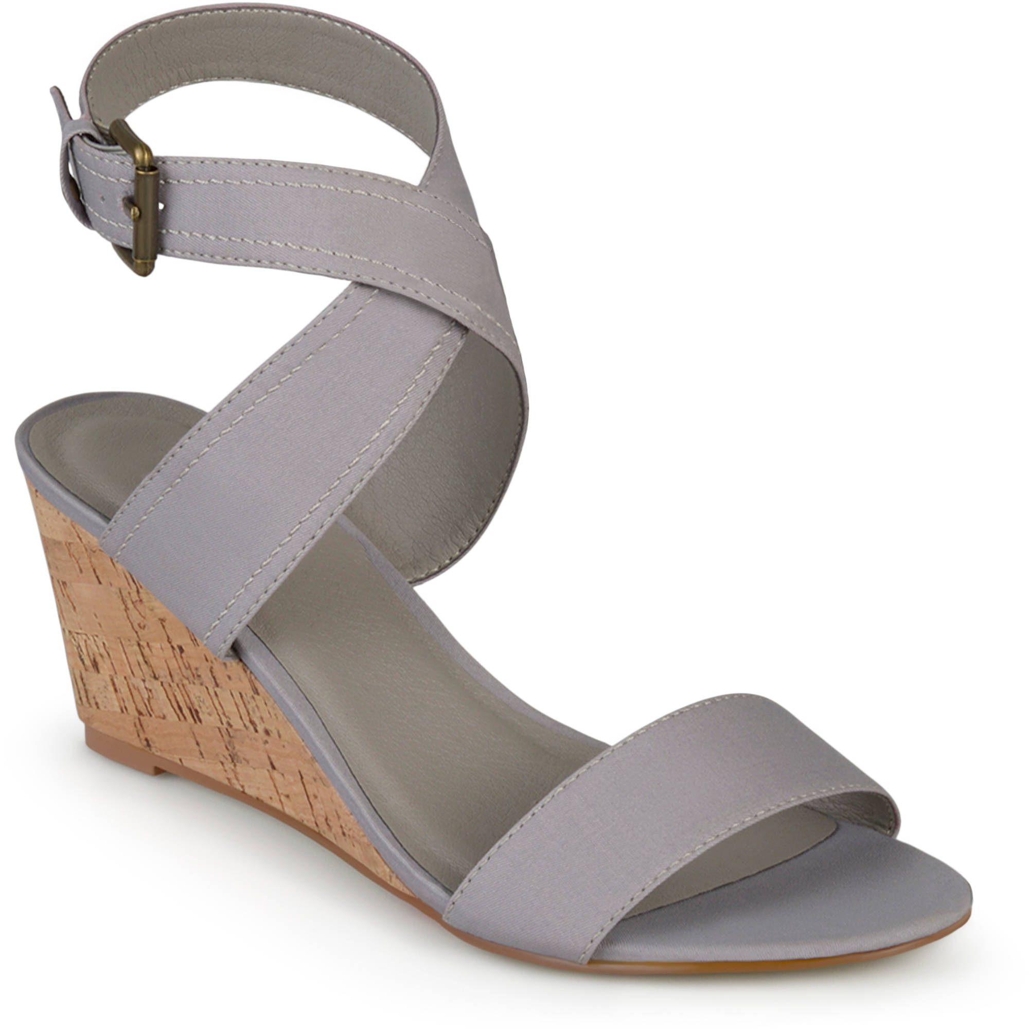 Brinley Co. Womens Ankle Strap Canvas Wedges