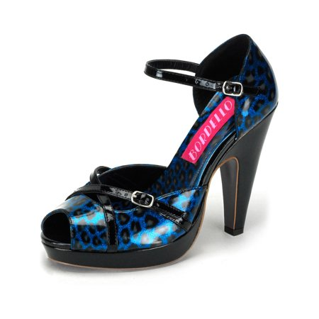 Sparkling Blue and Black Cheetah Print Peep Toe Sandals with 4.5 Inch Heels