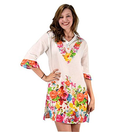 6ac2af6813 Peach Couture 100% Cotton Bohemian Floral Summer Tunics Beach Cover Ups  Orange Small/Medium ...