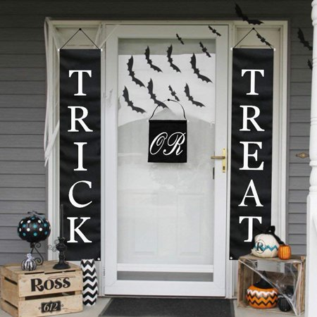 Halloween Office Themes Decoration (PartyTalk 3pcs Trick or Treat Halloween Banner Outdoor, Halloween Hanging Sign for Home Office Porch Front Door Halloween)