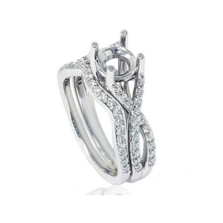 3/4ct Twist Engagement Matching Ring Set Semi Mount Setting Vintage White Gold