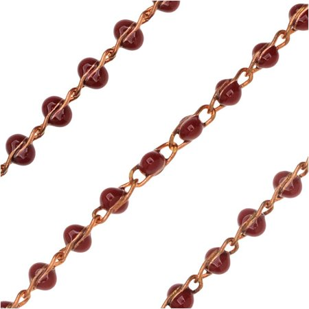 Zola Elements Bulk Chain, Beaded Figure Eight Links 4x2.5mm, By the Foot, Unfinished Brass/Burgundy - Necklace Chain Bulk