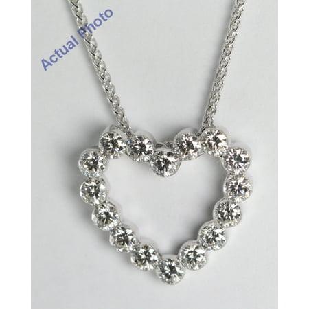 18k White Gold Invisible Setting 16 Stone Round Cut Diamond Heart Pendant (1.01 Ct, G Color, VS Clarity)