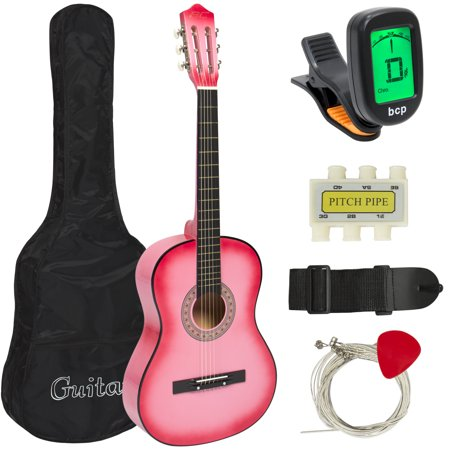 (Best Choice Products 38in Beginner Acoustic Guitar Stringed Musical Instrument Bundle Kit w/ Nylon Case, Strap, Digital E-Tuner, Pick, Pitch Pipe, Strings - Pink)