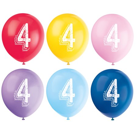 Latex Chalk Design Number 4 Balloons, Assorted, 12 in, 6ct - New Years Balloons