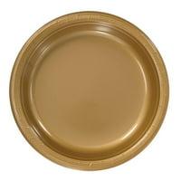 "Hanna K Plastic Plates, Round, 9"", Gold, 50 Ct"