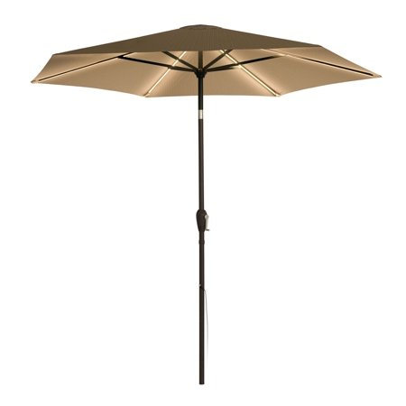 9 ft. LED Market Umbrella - Khaki, Warm Light