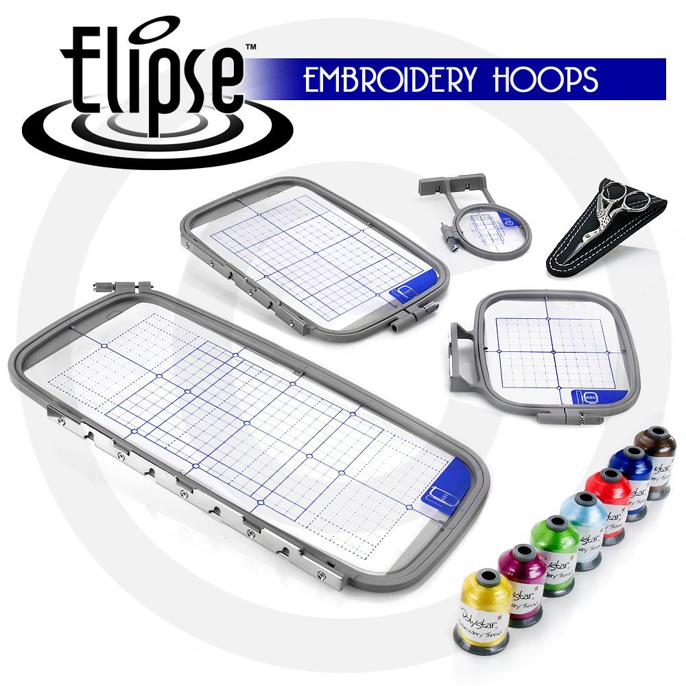 Elipse 4-Hoop Embroidery Package w/ Embroidery Thread and Scissors for Brother Embroidery Machines