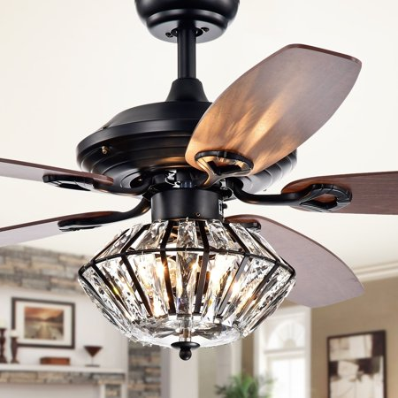 Makore Matte Black 52-inch Lighted Ceiling Fan with Crystal Shade (includes Remote and Light
