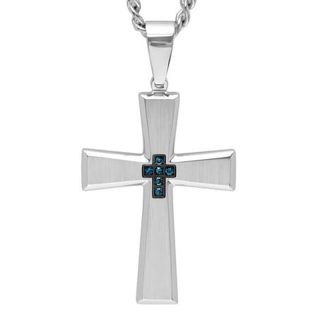Men's Stainless Steel Blue Diamond Accent Cross Pendant Necklace - Blue Topaz Diamond Necklace