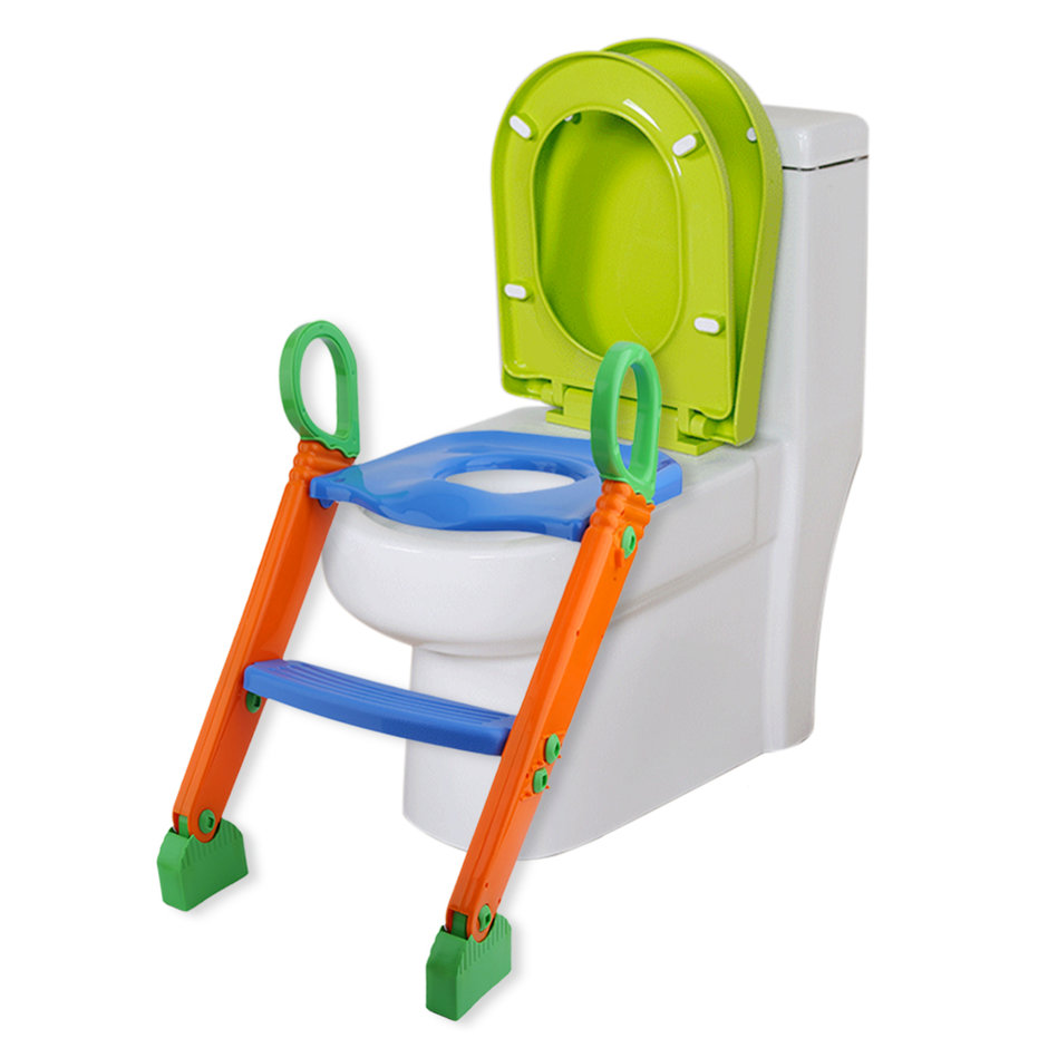 Folding Comfortable Children Kids Toilet Potty Training Seat Safety Toddler Toilet Chair With Step Stool Ladder Blue