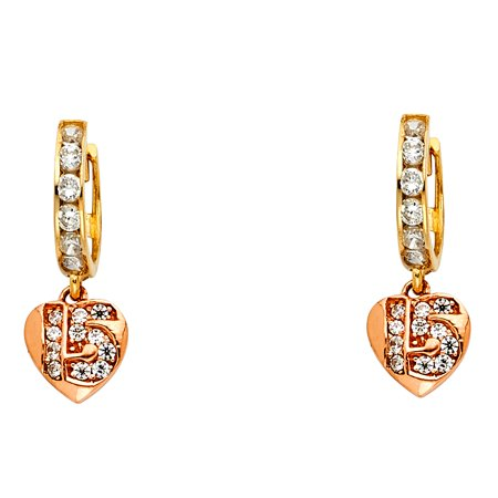 Ioka - 14K Tri Color Gold CZ Stone 15 Anos Quinceanera Heart Hanging Huggies Hinged Earrings