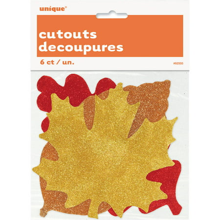 Glitter Paper Fall Leaves Decorations, Assorted, 6ct - Fall Season Decorations