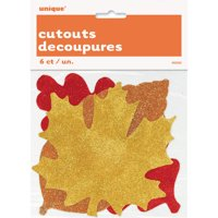 Glitter Paper Cutout Fall Leaves Decorations, Assorted, 6ct