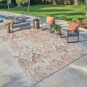 LR Home Antiquity Distressed Damask Southern Rust / Cream 5x8 Indoor / Outdoor Area Rug