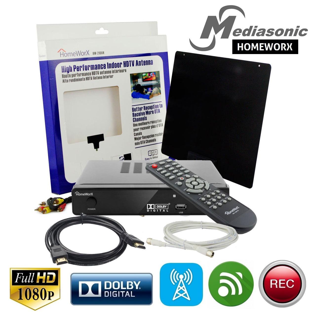 Mediasonic HOMEWORX HW155PVRA HDTV Converter Box w/ TV Tuner Recording, Media Player, Antenna, & HDMI Cable
