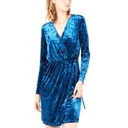 Bar III | Crushed Velvet Wrap Dress | Blue