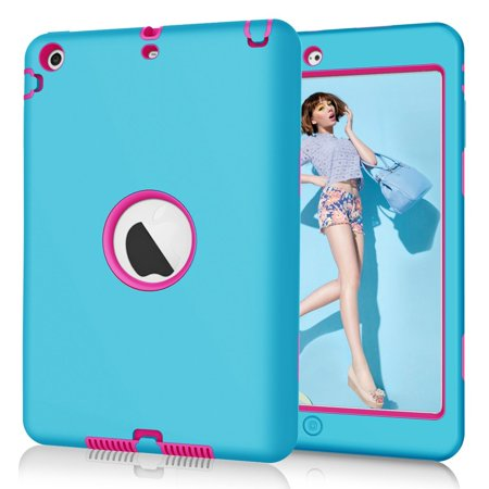 Spencer For Apple iPad Mini 1 2 3 Kids Shockproof Rubber Hard Case Cover Lightweight Thin Impact Hybrid Protective Sky