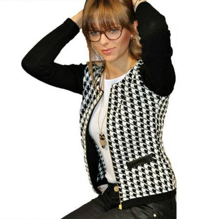 Women Ladies Houndstooth Long Sleeve Cardigan Zip Slim Blazer Jacket Tops Outwear Coat Overcoat Plus Size Sleeve Zip Cardigan
