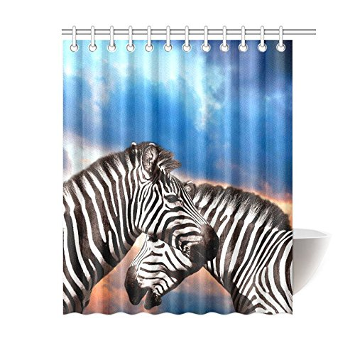 GCKG African Safari Animal Shower Curtain Wildlife Zebras Blue Sky Polyester Fabric Bathroom Sets With Hooks 60x72 Inches