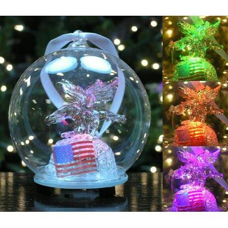 LED Glass Globe Christmas Ornament Eagle and American Flag (Globe Ornament)