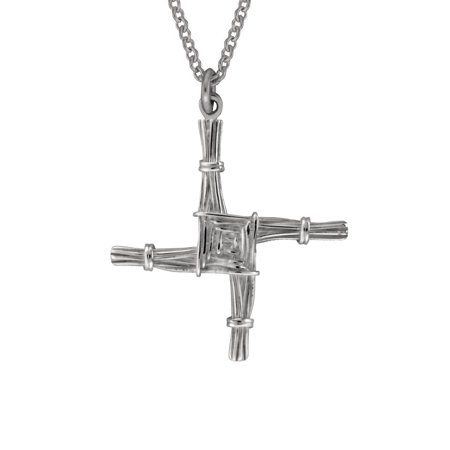 St  Brigids Cross Necklace Silver 2 Sided Made In Ireland