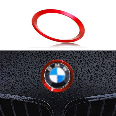 Xotic Tech 1 x Car Front Hood Rear Trunk Logo Emblem Surrounding Ring for BMW 1 3 5 6 7 Z X Series, Auto Exterior Decoration, Red 82mm/ 3.2
