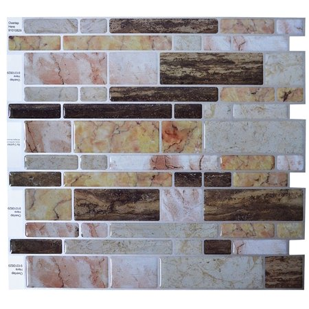 "Crystiles® Peel and Stick Self-Adhesive Stick-On Vinyl Wall Tile Backsplash,Multi-Color Marble, Item# 91010829, 10"" X 10"" Each, 6 Sheets"