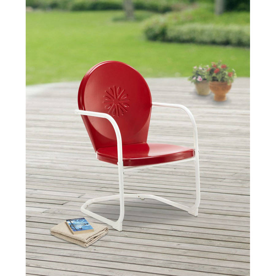 Mainstays Retro C-Spring Metal Chair, Red