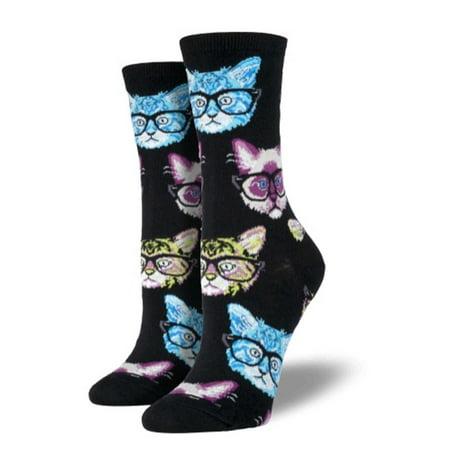 Novelty Socks KITTENSTER BLACK/MULTI Cotton Crew Glasses Cat Ssw1306 (Cashmere Crew Coat)