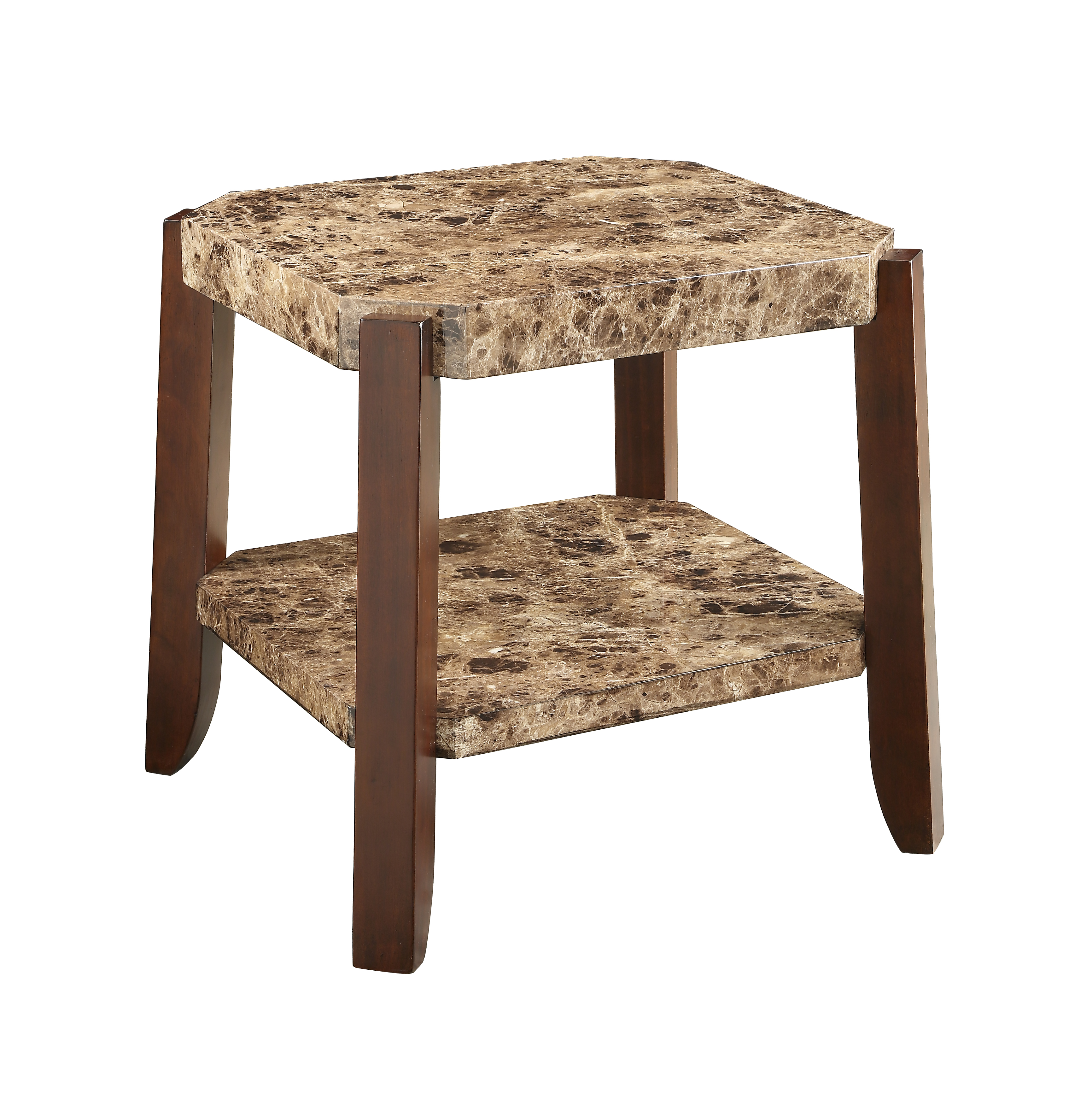 ACME Dacia End Table, Faux Marble & Brown