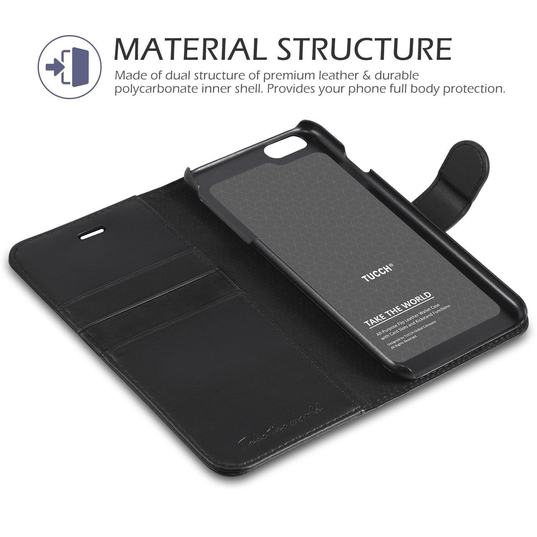 reputable site bc8b6 29756 TUCCH iPhone 6S/6 Plus Case, Premium PU Leather Flip Folio Wallet ...