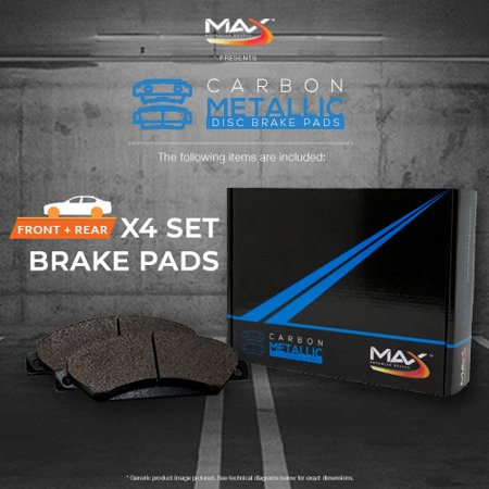 Max Brakes Front & Rear Carbon Metallic Performance Disc Brake Pads TA047953 | Fits: 2006 06 2007 07 Subaru Impreza WRX; Non STI Models - image 1 of 6