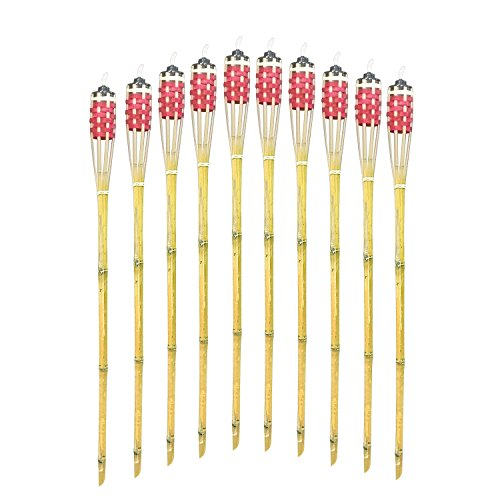 """Mr.Garden Bamboo Torches - Set of 10 Includes Metal Oil Canisters - 35.4"""" Long red"""