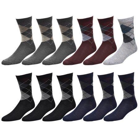 12-Pack Argyle Design Men Dress Socks Size 10-13