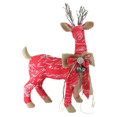 Northlight 24 in. Country Rustic Red White and Brown Reindeer Christmas Decoration - Country Decorations